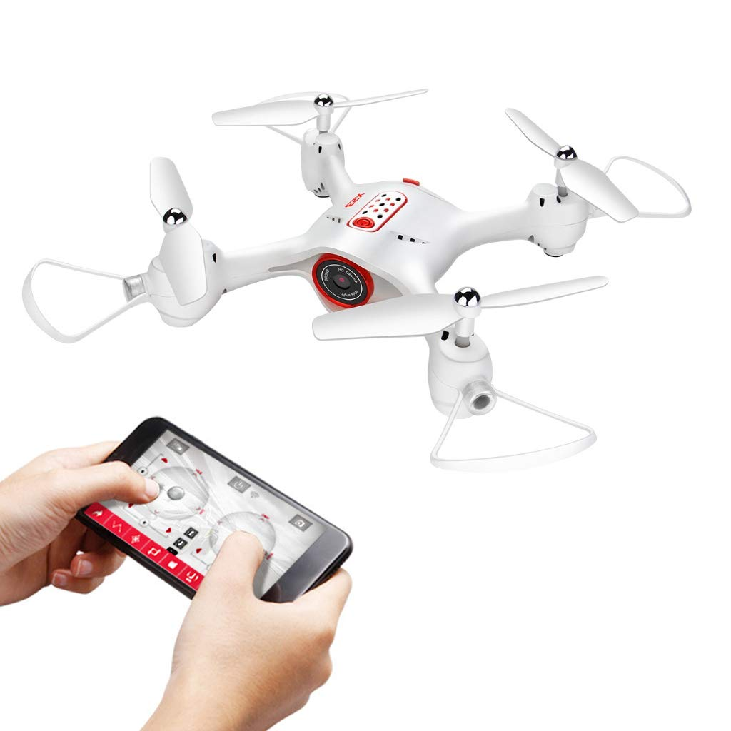 FPV Quadcopter, X23W WiFi Drone avec 720P HD Camera APP Control Professional Remote Control Drone 360 Degree rougeation Altitude Hold Headless Mode,blanc
