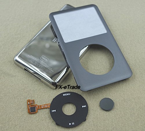 Full Set Grey Gray Front Faceplate Fascia Back Housing Case Cover Shell Black Clickwheel Flex Grey Central Button Key + Tools for Ipod 7th Gen Classic Thin Version 160gb