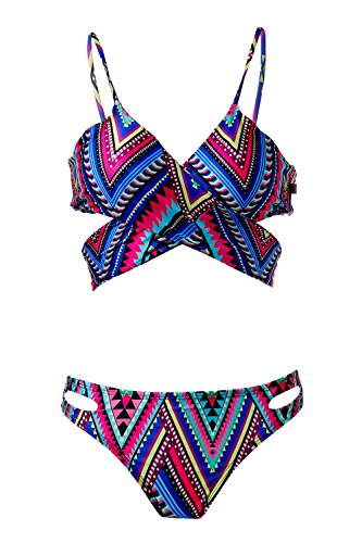 Spring Fever Women's Push Up Ethnic Hollow Out Swimsuit Printed Strappy Bikini Mixed Color M(US:2-4)