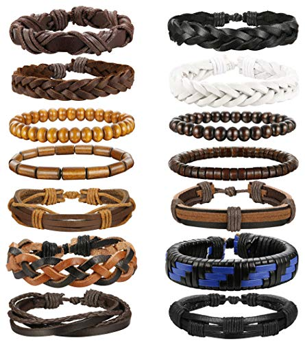 Wooden Fashion Bracelets - ORAZIO 14PCS Leather Bracelet for Men Women Wooden Beaded Braided Cuff Bracelet Adjustable