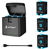 Artman Hero 9 3-Pack Replacement Batteries and 3-Channel USB Storage Quick Charger for Hero 9 Black, Fully Compatible with Go
