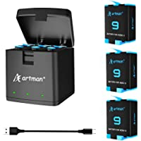 Artman 3-Pack Replacement Batteries and 3-Channel USB Storage Quick Charger for Hero 9 Black, Fully Compatible with Hero…