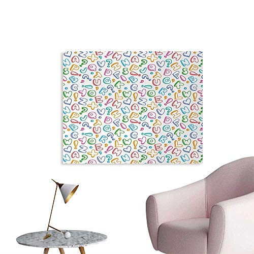 Tudouhoho Alphabet Poster Paper Chubby Letters in Fun Colors Kids Scribble Style ABC Symbols Hearts Comics Art Photo Wall Paper Multicolor W32 xL24 (Scribble Wallpaper)