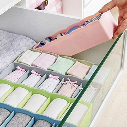 Cute 5 Cells Organizer Plastic Storage Box Tie Bra Socks Drawer Cosmetic Divider Tidy Underwear Small Toys - Hilo Sunglasses