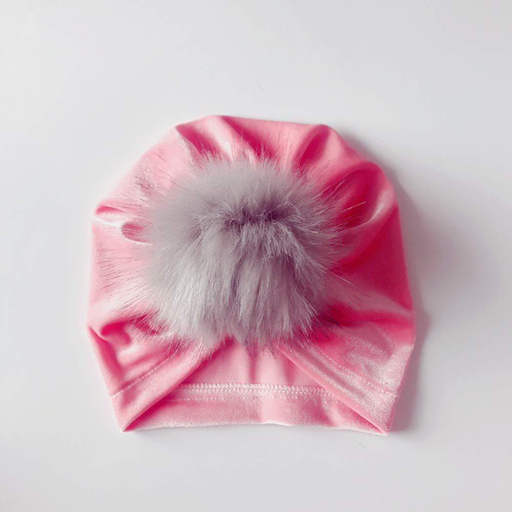 Xeminor Creative Autumn Winter Baby Warm Cap Children Turban Hairball Hat