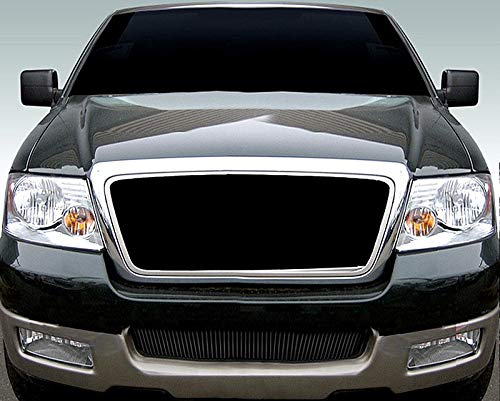 ShopDone Fits 04-05 Ford F150 Lower Bumper 1PC Replacement Black Powder Coated Vertical Billet Grille Grill Inser