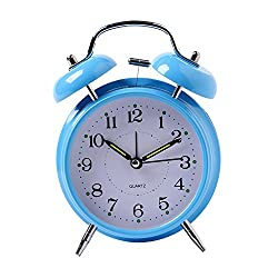Kaimao 4 Twin Bell Alarm Clock No Ticking Analog Quartz Alarm,Battery Operated with Nightlight and Snooze Function for Bedroom(Blue)