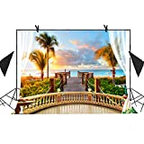 MEETS 10x7ft Spring Seaside Scenery Backdrop Wooden Bridge Railing Plant Sunset Sea Background Wedding Photography Kiosk Theme Party Studio Props Background HUIMT072