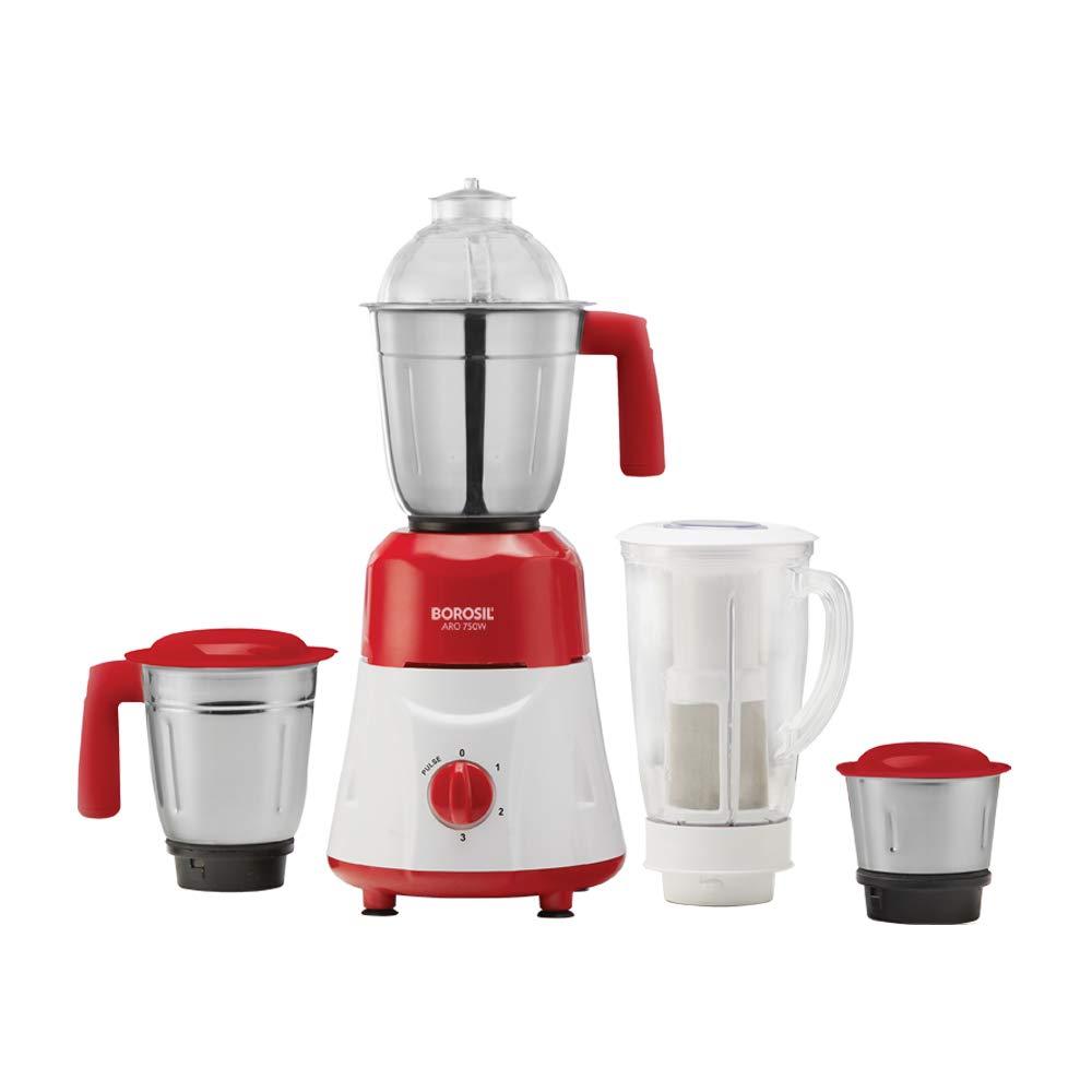 Borosil - ARO(750 Watts) Mixer Grinder 4 Jar (3 Stainless Steel + 1 Juicer Jar), Red