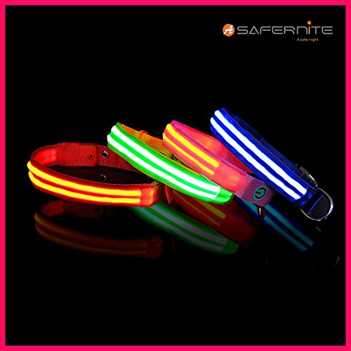 Moco Best Light Up Rechargeable 2 Strips LED Nylon Dog Collar with 3 Light