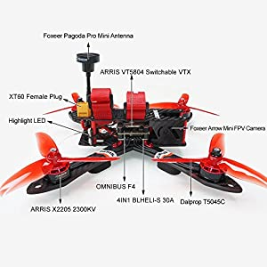 "Arris X220 V2 220MM 5"" FPV Racing Drone RC Quadcopter RTF w/Radiolink AT9S + Omnibus F4 Flight Controller + Foxeer Camera + 4S Lipo Battery + 5.8G TX by Hobby-Wing"