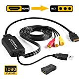 HDMI to RCA Cable, 1080P HDMI to AV CVBS Converter Plus HDMI Female to Female Adapter, with USB Charging for PC/Laptop / HDTV/DVD / PS3 / PS4 / STB etc