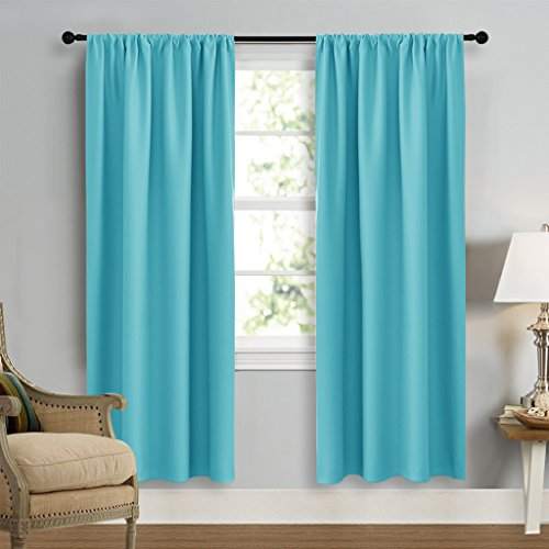 Blackout Curtains Window Draperies - NICETOWN Window Treatment Thermal Insulated Solid Room Darkening Drapes for Bedroom (Set of 2 Panels,42 by 72 Inch Long ,Turquoise Blue) - Sky Home Decor