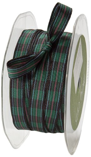 may arts 38 inch wide ribbon green and black and red plaid