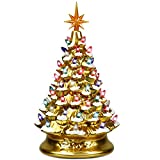 Goplus Pre-Lit Hand-Painted Ceramic Christmas Tree, Tabletop Xmas Decor, with 66 Multicolored Lights and Top Star, Forever Lighted Holiday Centerpiece