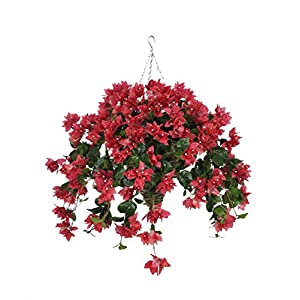 House of Silk Flowers Artificial Watermelon Bougainvillea in Beehive Hanging Basket 9