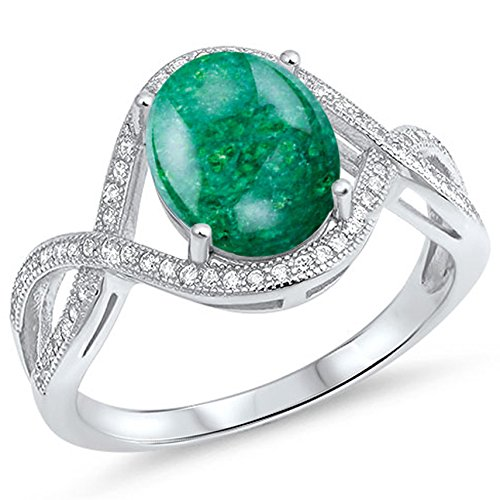 Oval Green Natural Emerald - 925 Sterling Silver Cabochon Natural Genuine Green Emerald Oval Infinity Ring Size 7