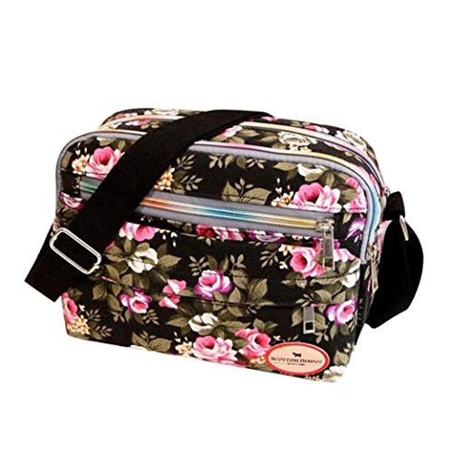 Sale Clearance Women Handbags Halijack Ladies Vintage Printing Canvas Messenger Bag College Girl Casual Travel Purse Cosmetic Bag Summer Beach Bag Small Shoulder Bag Crossbody Bag (Black)
