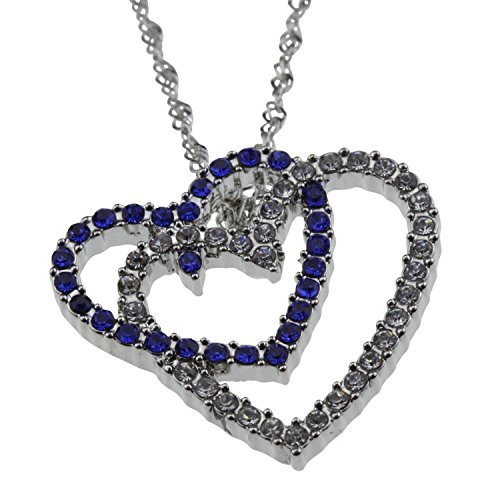 Open Heart Designer Pendant (Blue Crystal Double Open Heart Love Necklace Pendant Silver Jewelry Gift for Anniversary Valentine's)