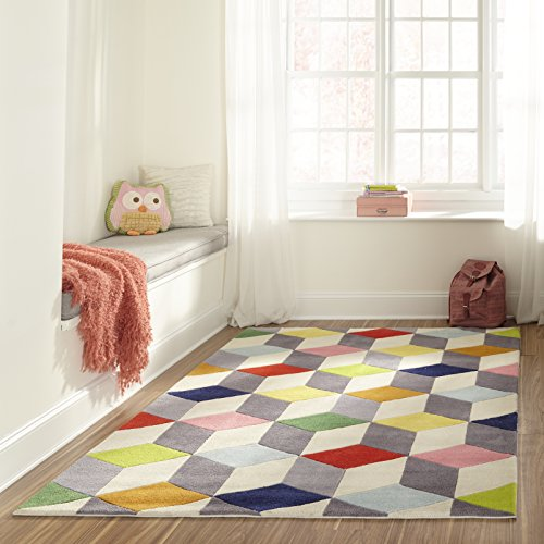 Momeni Rugs LMOTWLMT15MTI4060 Lil' Mo Hipster Collection, Kids Themed Hand Carved & Tufted Area Rug, 4' x 6', Multicolor