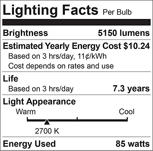 Luxrite LR20220 (12-Pack) 85-Watt High Wattage CFL Spiral Light Bulb, Equivalent To 350W Incandescent, Warm White 2700K, 5150 Lumens, E26 Standard Base by LUXRITE (Image #1)