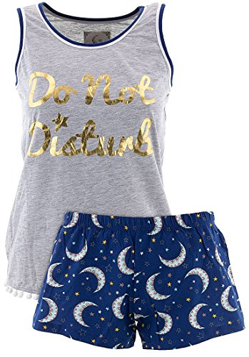 PJ Couture Women's Do Not Disturb Shorty Pajamas M - Gold Shorty Shorts