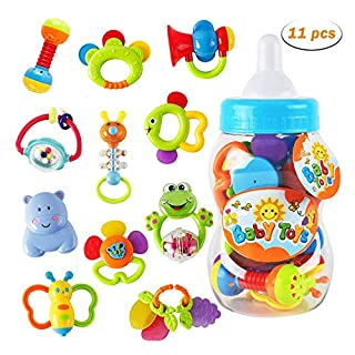 WISHTIME Rattle Teether Baby Toys - Baby 11pcs Shake and GRAP Baby Hand Development Rattle Toys for Newborn Infant with Giant Bottle Gift for 3 6 9 12 18Month