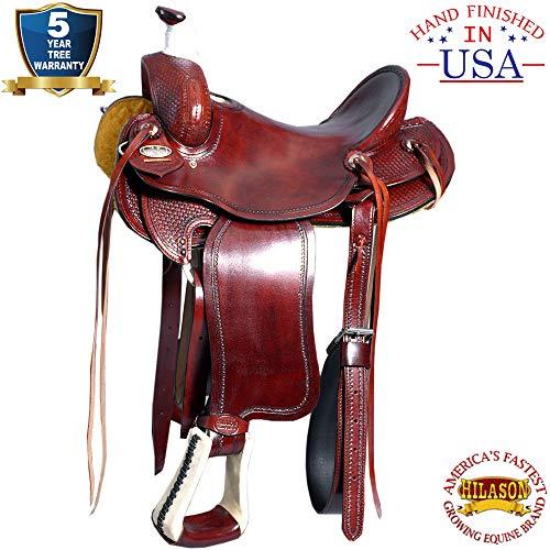HILASON 17′ Western Big King Wade Ranch Cowboy Trail Roping Saddle Mahogany