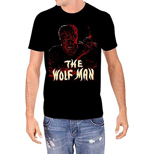 Universal Monsters WOLFMAN Lon Chaney Jr Men's Black T-Shirt (2XL)