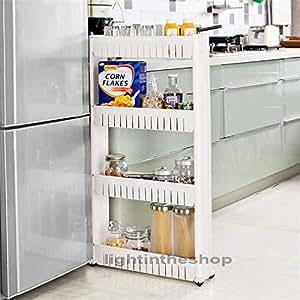Slide-Out Kitchen Bathroom Rack 4 Tiers Trolley Holder Storage Shelf Organiser on Wheels -White