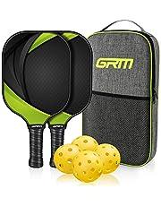 GRM Pickleball Raquets, Pickleball Paddles Set of 2 Graphite Pickleball Set Lightweight Pickleball Racket, 2 Pickleball Paddles and 4 Balls Including Portable Carry Bag
