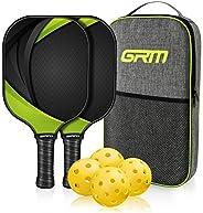 GRM Pickleball Raquets, Pickleball Paddles Set of 2 Graphite Pickleball Set Lightweight Pickleball Racket, 2 P