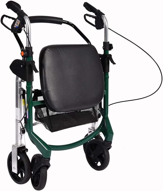 XJZHAN Andador De Andador Plegable Ligero con Asiento Acolchado Y Bolsa De Transporte Altura del Mango Ajustable 4 Ruedas Ayuda De Movilidad