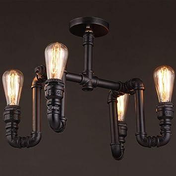 Crayom Lámpara de techo de 4 luces de hierro industrial ...