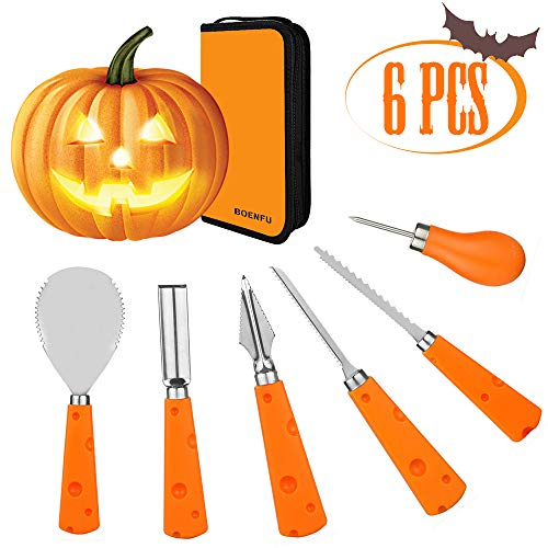 BOENFU Halloween Pumpkin Carving Kit, 6 PCS Heavy Duty Stainless Steel Carving Tools Set with Carrying Bag, Jack-O Lanterns Pumpkin Cutting Tools Carving Knife for Halloween Decoration