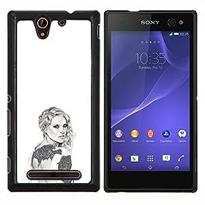 Dragon Case - FOR Sony Xperia C3 D2533 - grey white fashion design art style - Caja protectora de pl??stico duro de la cubierta Dise?¡Ào Slim Fit