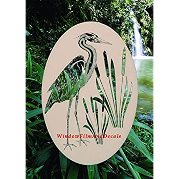 Amazon Com Egret Amp Cattails Left Oval Etched Window Decal