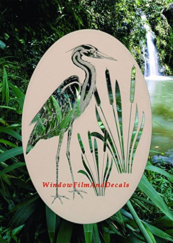 (Oval Egret & Cattails Left Etched Window Decal Vinyl Glass Cling - 21