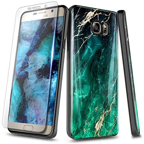 NageBee Case for Samsung Galaxy Note 5 with Tempered Glass Screen Protector, Ultra Slim Thin Glossy Stylish Protective Cover Phone Case -Emerald Marble
