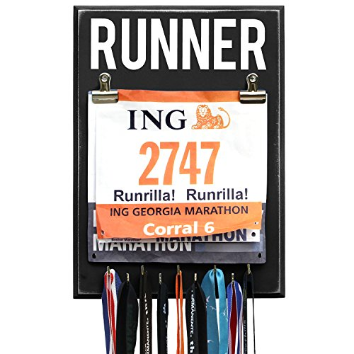 RunRilla Medal and Bib Display Runner, Black, 9 Hooks