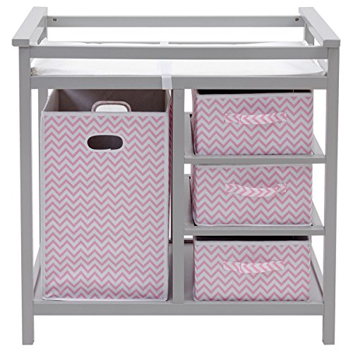 Gray Pink Infant Baby Changing Table w/3 Basket Hamper Diaper Storage Nursery by Happybeamy