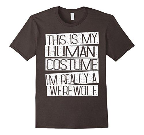 Mens Funny Halloween Costume Shirt - I'm Realy A Werewolf Shirt XL Asphalt