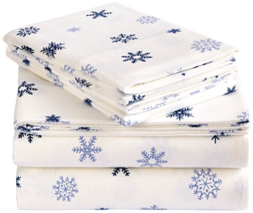 Pinzon Flannel Sheet Set – Queen, Falling Snowflake Blue