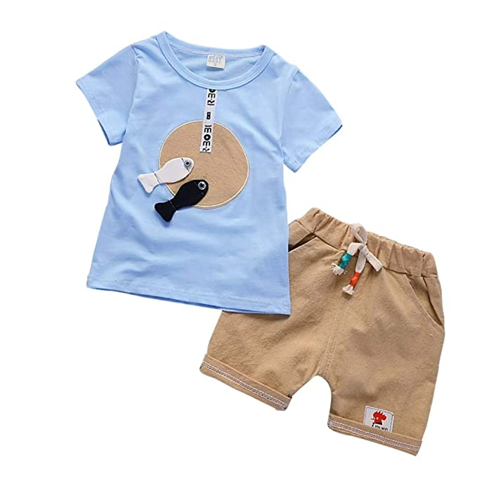 Little Boys Summer Outfit Polo T-Shirt and Denim Shorts 2Pcs Set 1-5 Years