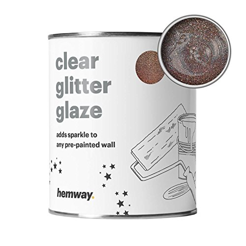 Hemway Clear Glitter Paint Glaze (Bronze) 1L / Quart for Pre-Painted Walls Acrylic, Latex, Emulsion, Ceiling, Wood, Varnish, Dead flat, Matte, Soft Sheen, Silk (CHOICE OF 25 GLITTER COLOURS) (Lime Bronze Wall)