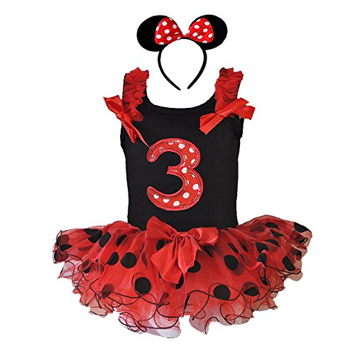 Birthday Age Number Tank Top, Red/Black Polka Dot Tutu, Headband 3 Pcs Set (Age 3 RDB3H) (Disney Princess Pageant Dress)