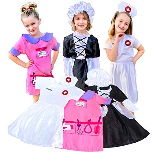 fedio Girls Costume Dress up Set - Nurse Dress,Little Maid,Hair Stylist Costume -