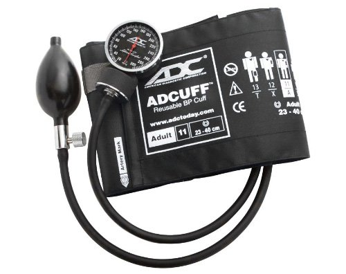 - ADC Diagnostix 720 Pocket Aneroid Sphygmomanometer with Adcuff Nylon Blood Pressure Cuff, Adult, Black