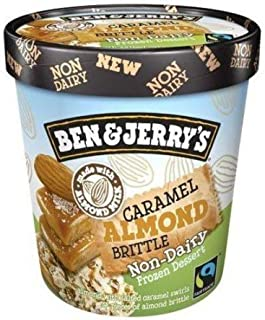 product image for Ben & Jerry's - Non-Dairy Frozen Dessert, Non-GMO - Fairtrade - 100% Certified Vegan - Made with Almond Milk - Responsibly Sourced Packaging, Caramel Almond Brittle, Pint (8 Count)