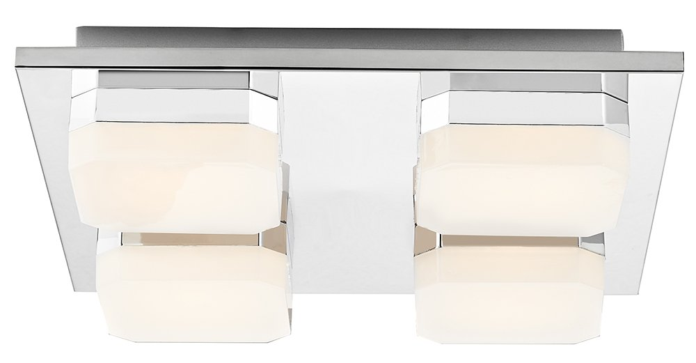 Haysom Interiors LED Bathroom Ceiling Lighting Fitting with Opal White Shades, Metal, Chrome [Energy Class A+] Haysoms HA10-24W-CH